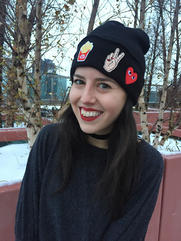 DIY patch beanie with petite rachelle