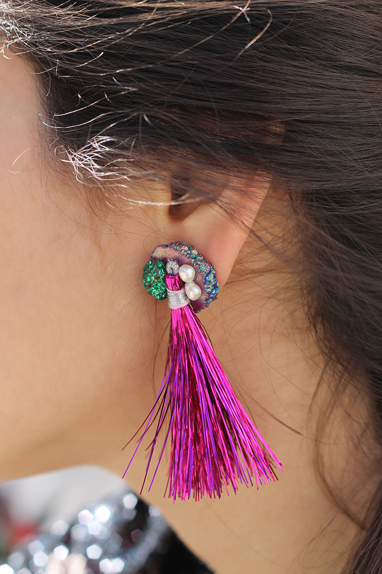 diy mixed media tassel earrings
