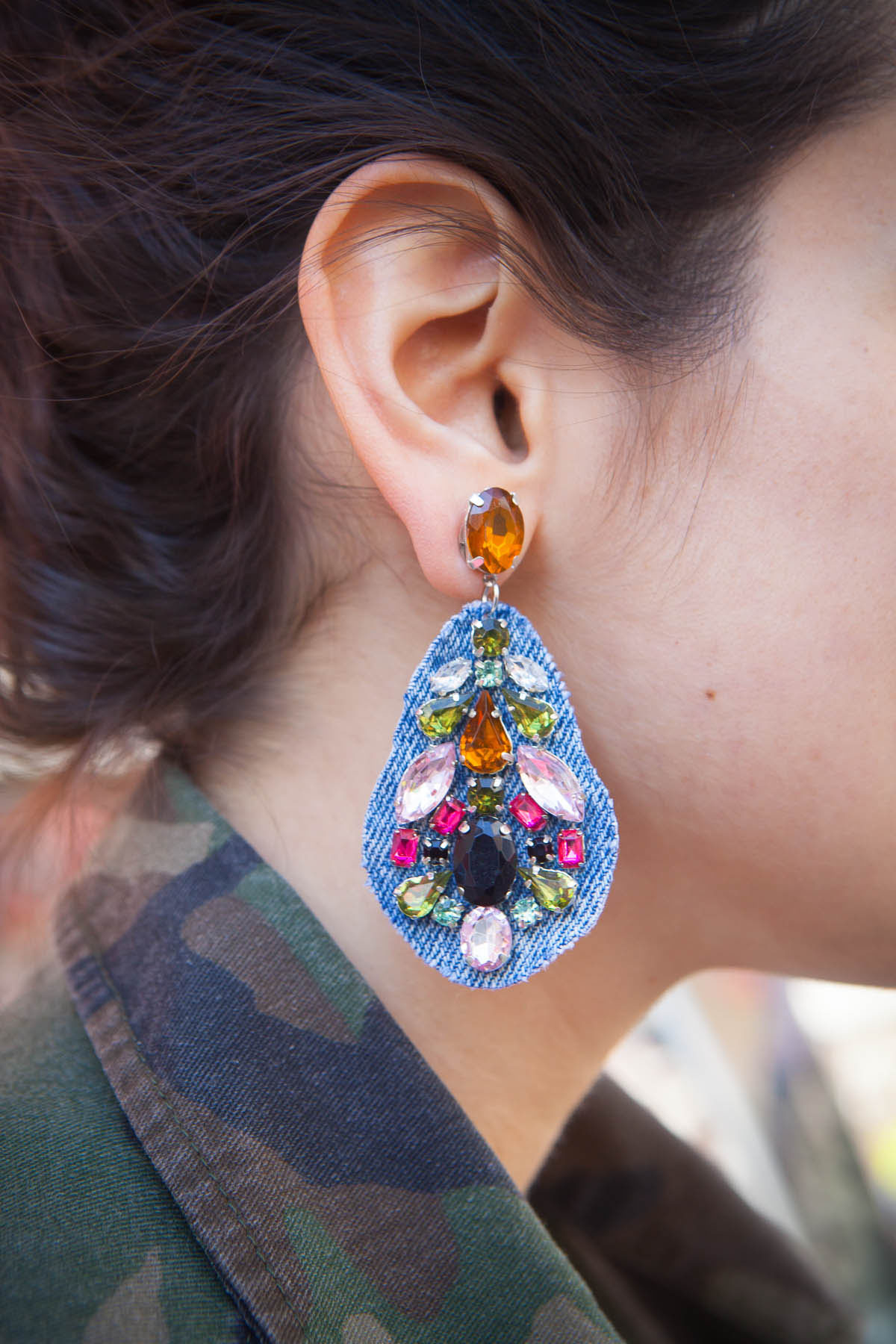 DIY with Cotton: Denim Statement Earrings