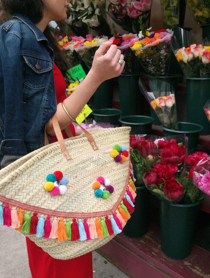diy embellished straw market tote