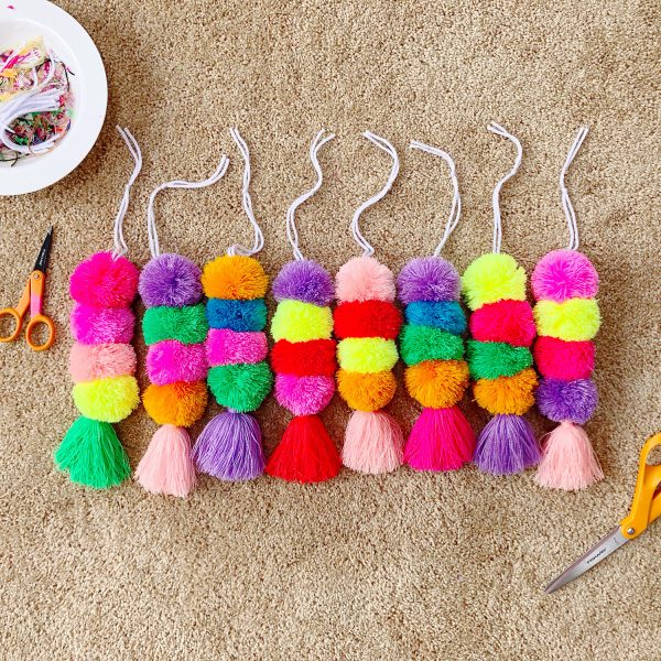 The Neon Tea Party Pom Pom Tassel Bag Charms