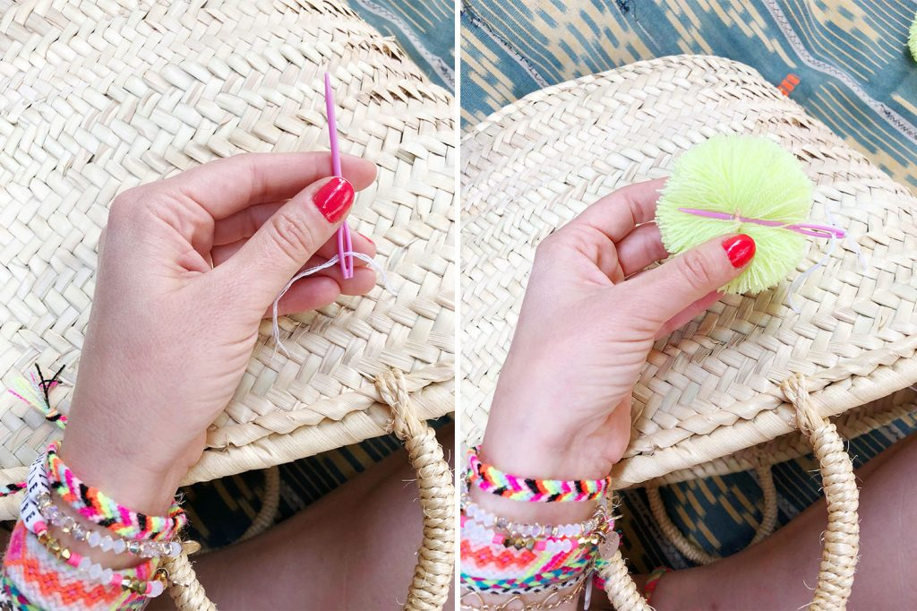 the neon tea party pom pom tote basket diy