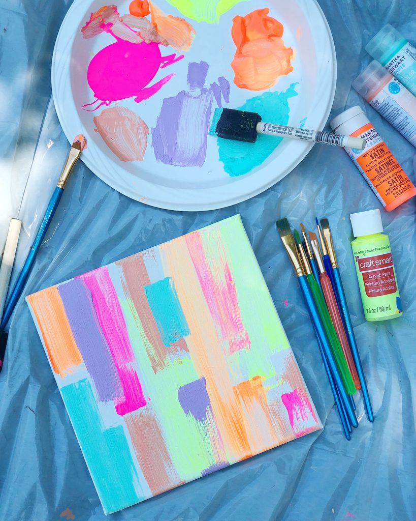 the neon tea party poolside painting