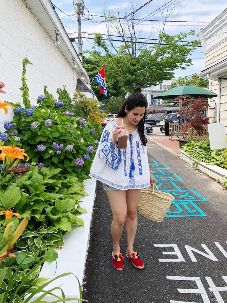 woman shops world pom pom tassel shoe DIY