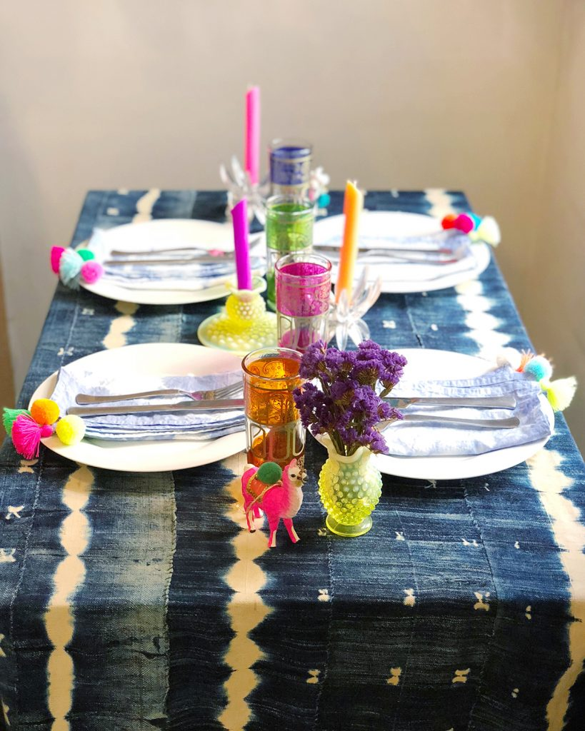 Pom Pom Tassel Shibori Napkins The Neon Tea Party