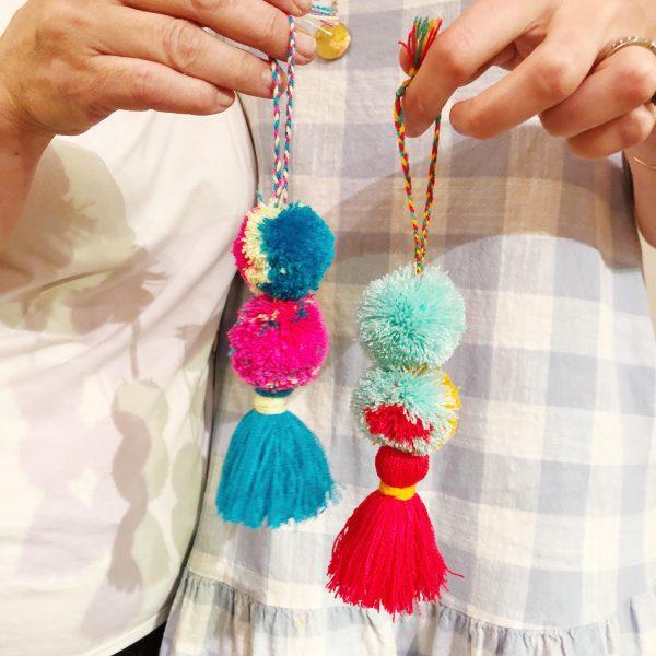 The Neon Tea Party Pom Pom Tassel Bag Charm Workshop