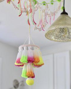DIY Dip-Dye Neon Tassel Chandelier Fancy Flamingo Designs The Neon Tea Party
