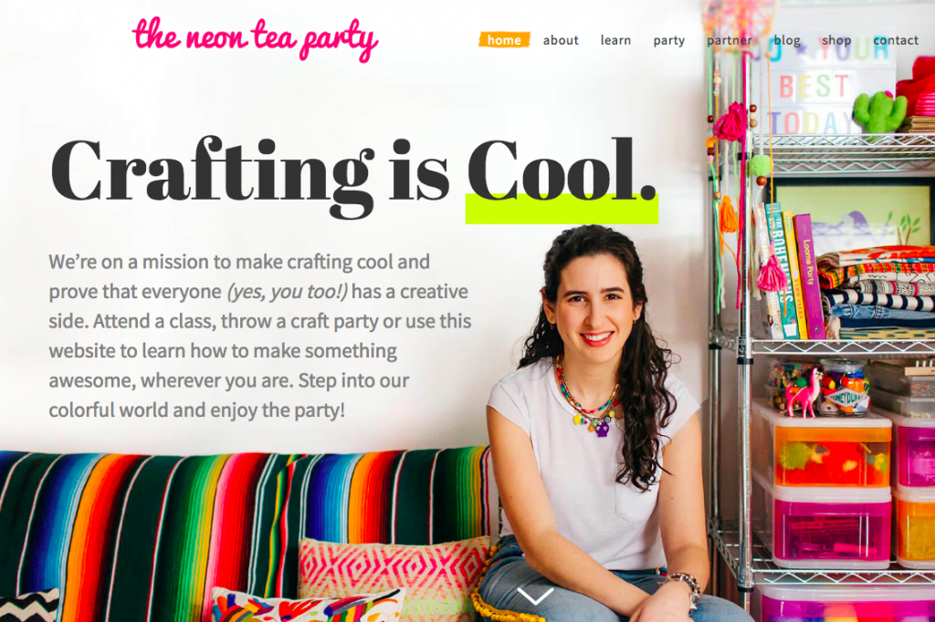 The Neon Tea Party Website Homepage Crafting is Cool
