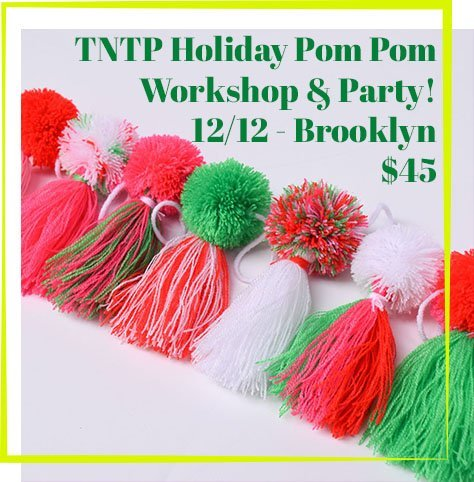 The Neon Tea Party Holiday Pom Pom Workshop Party 2018 Flier