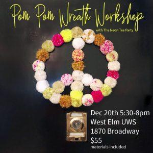 Pom Pom Wreath Workshop Flier