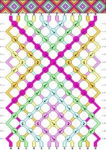 The Neon Tea Party Interlocking X Diamond Friendship Bracelet Pattern