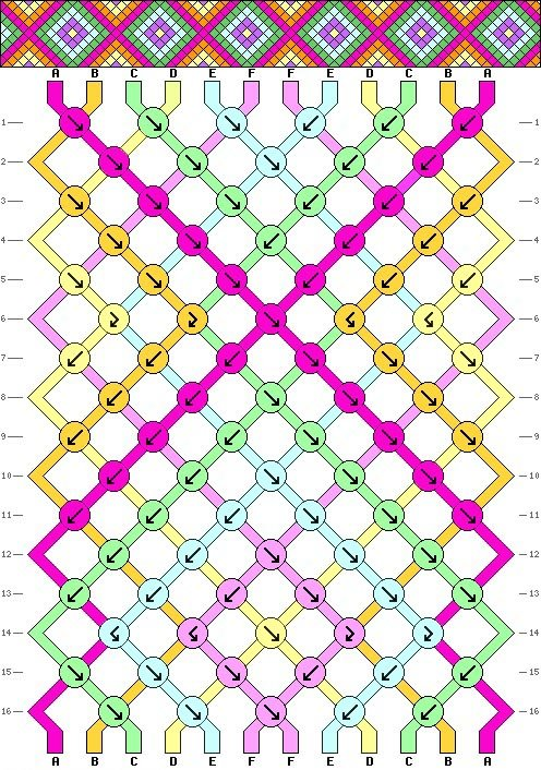 d40b49b64252 The Neon Tea Party Interlocking X Diamond Friendship Bracelet Pattern