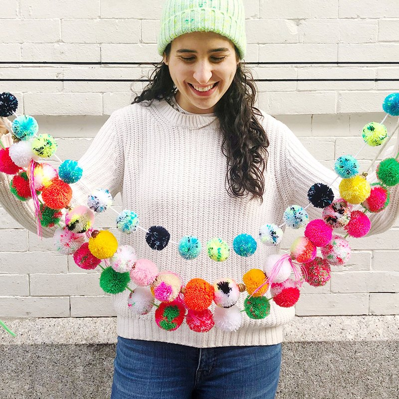 How to String Make Pom Poms Garland The Neon Tea Party