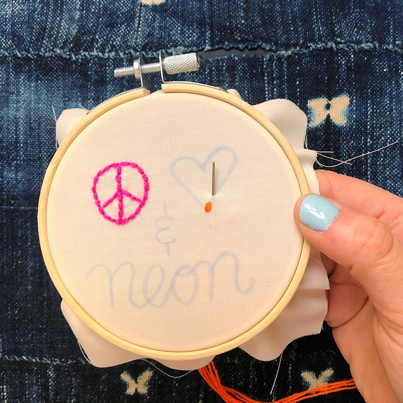 The Neon Tea Party - Step-by-Step - Backstitch 5