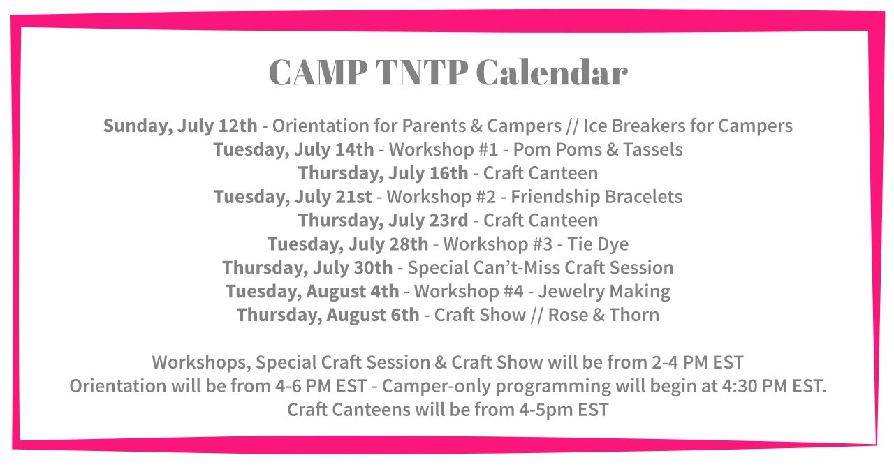 Camp TNTP Calendar - UPDATED