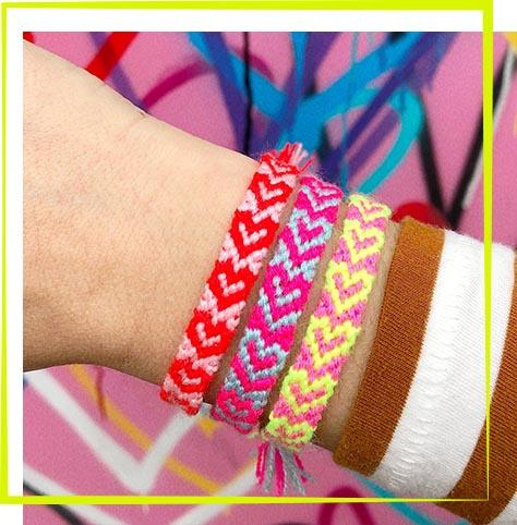The Neon Tea Party Workshop - Heart Friendship Bracelets