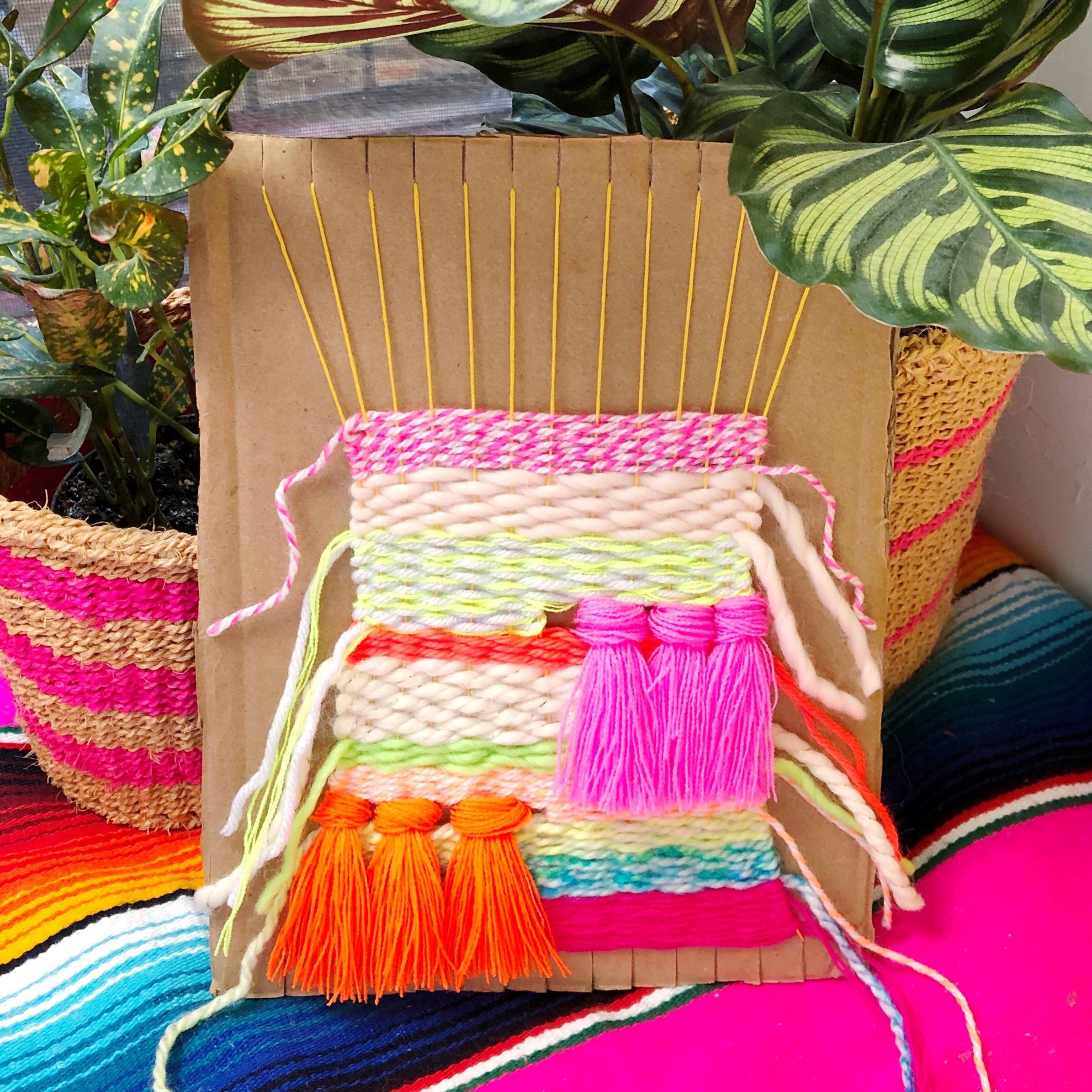 The Neon Tea Party - At Home - Cardboard Loom Weaving