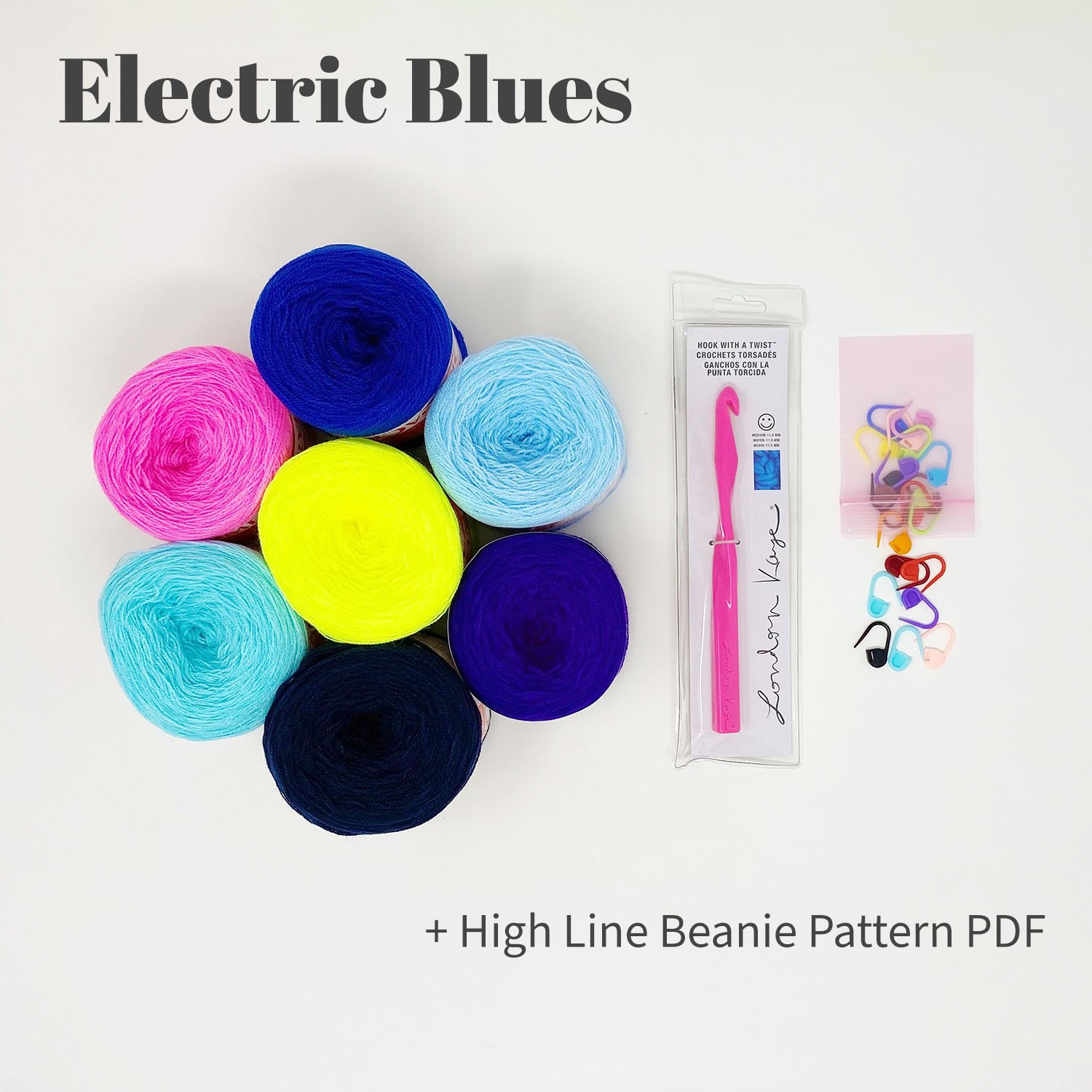 High Line Beanie Bundle - Electric Blues - labeled