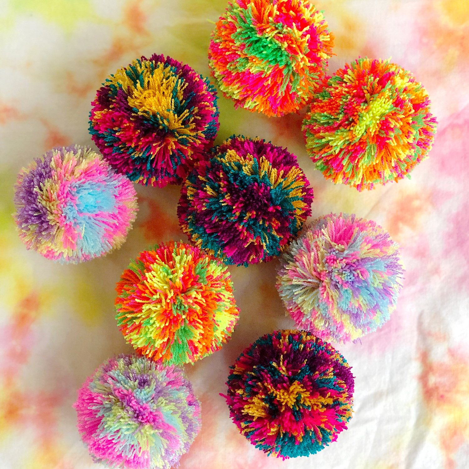 How to Make Tie Dye Pom Poms - The Neon Tea Party