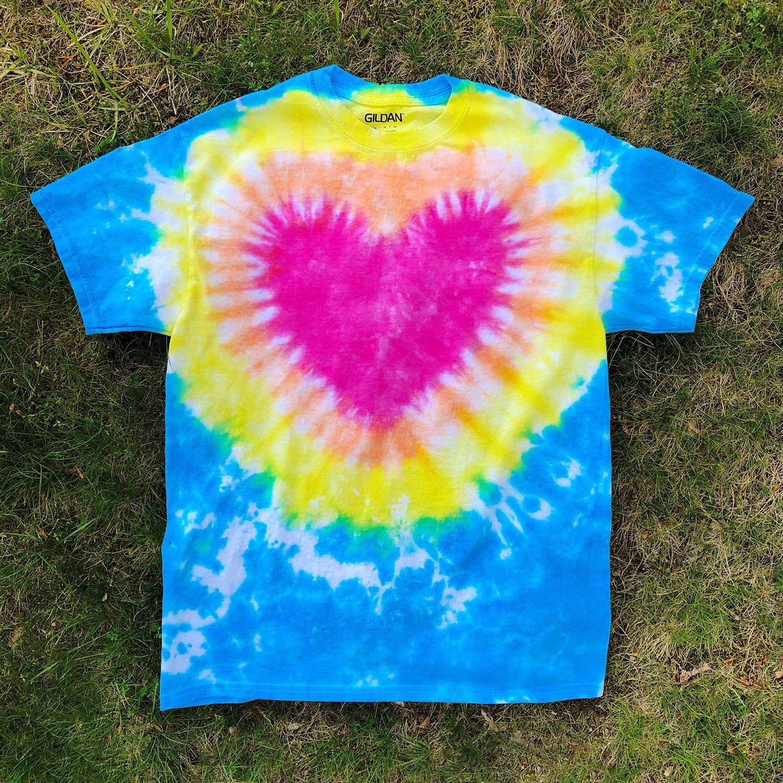 Tie Dye Heart - on grass