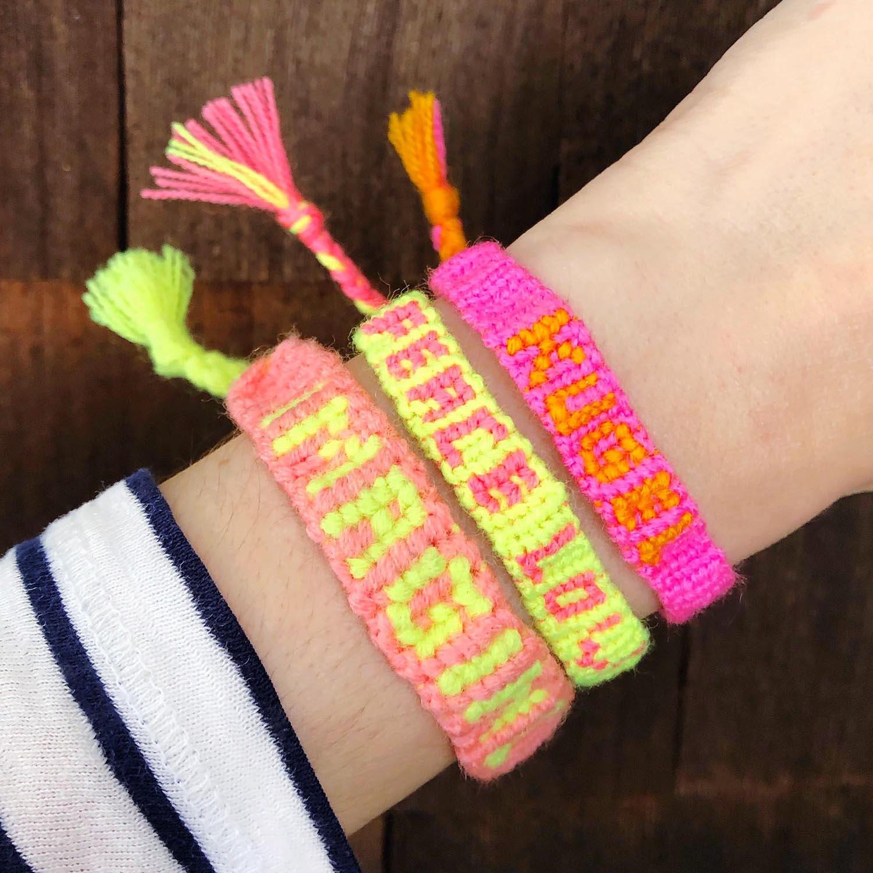 Word Name Alpha Friendship Bracelets - square