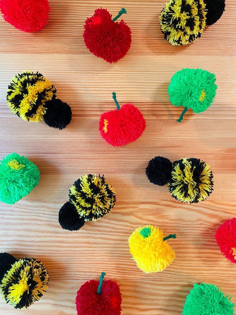 DIY Apple and Bee Pom Poms
