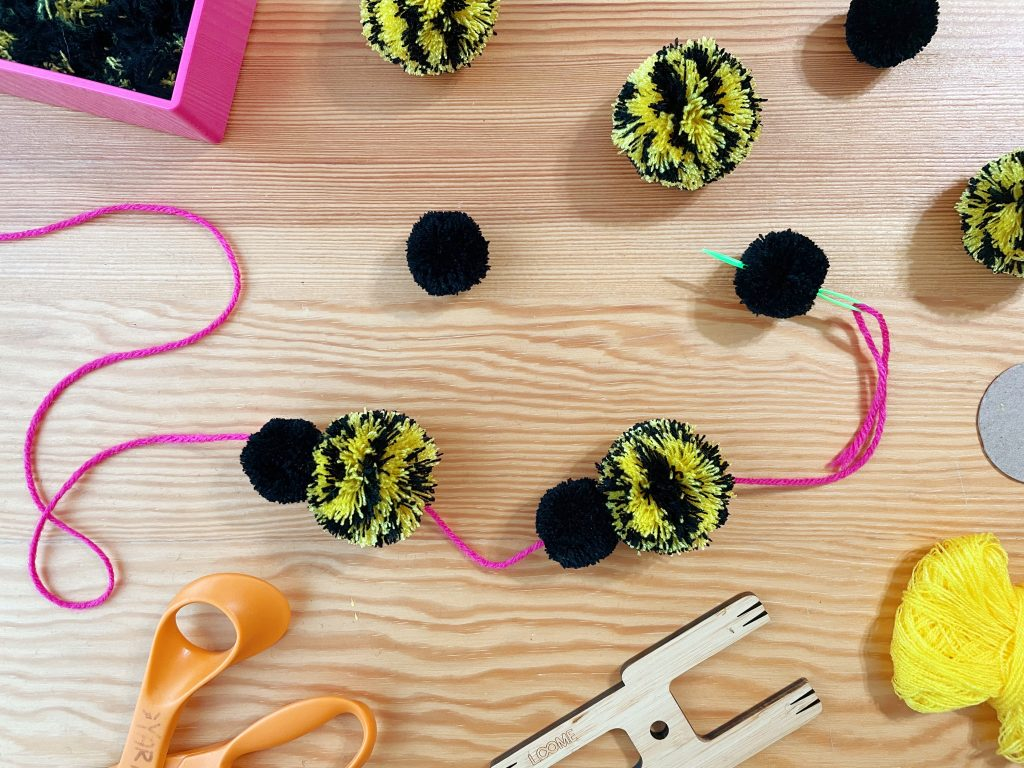 DIY Bee Pom Pom Garland