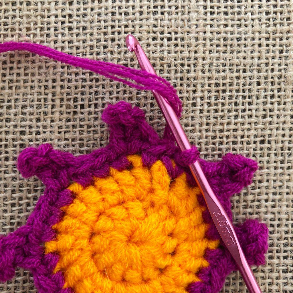 Crochet Flower Petals Step 13