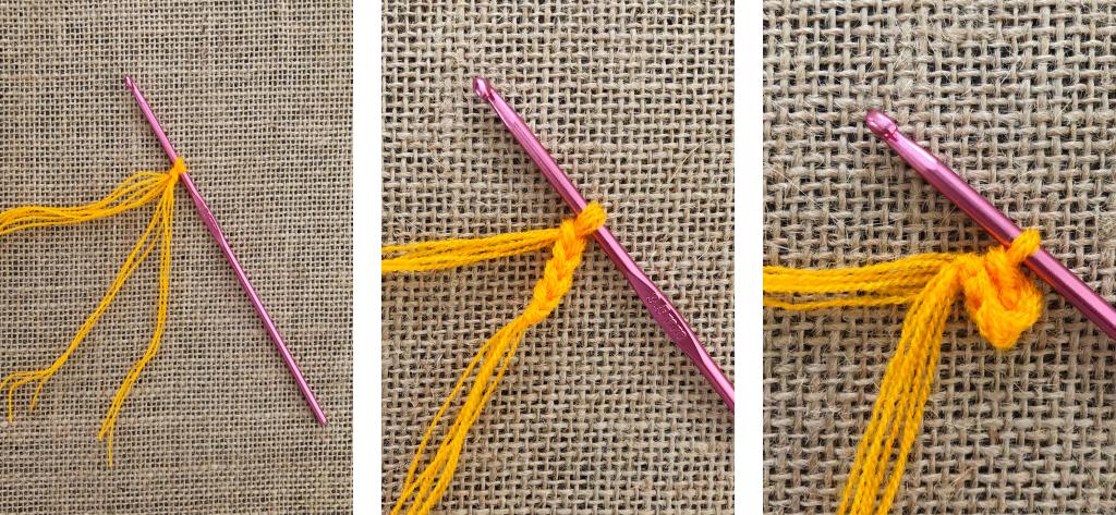 Crochet Round Center Steps 1-3