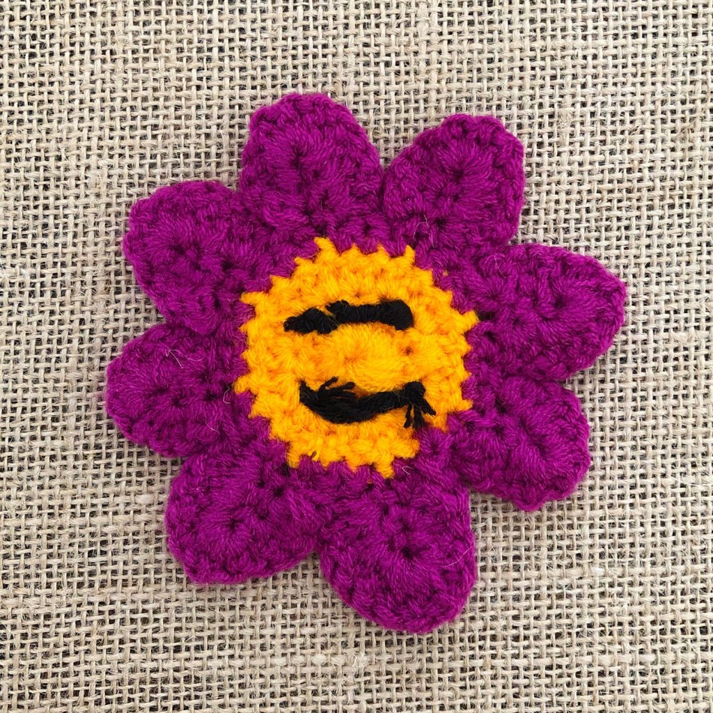 Crochet Smiley Face Tying off