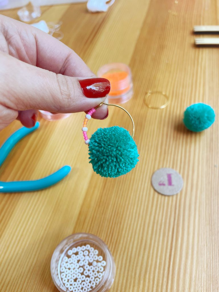 Beaded Pom Pom Hoop Earrings