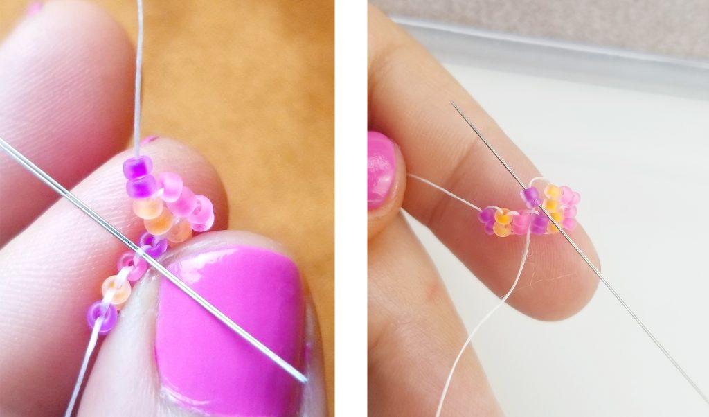 Brick Stitch Earrings Steps 11-12