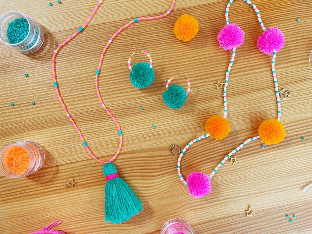 Beaded Pom Pom and Tassel Jewelry
