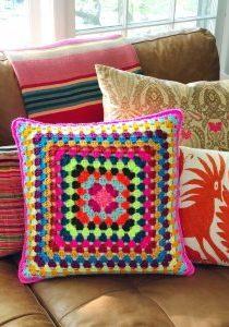 Crochet Granny Squre Pillow - Hero