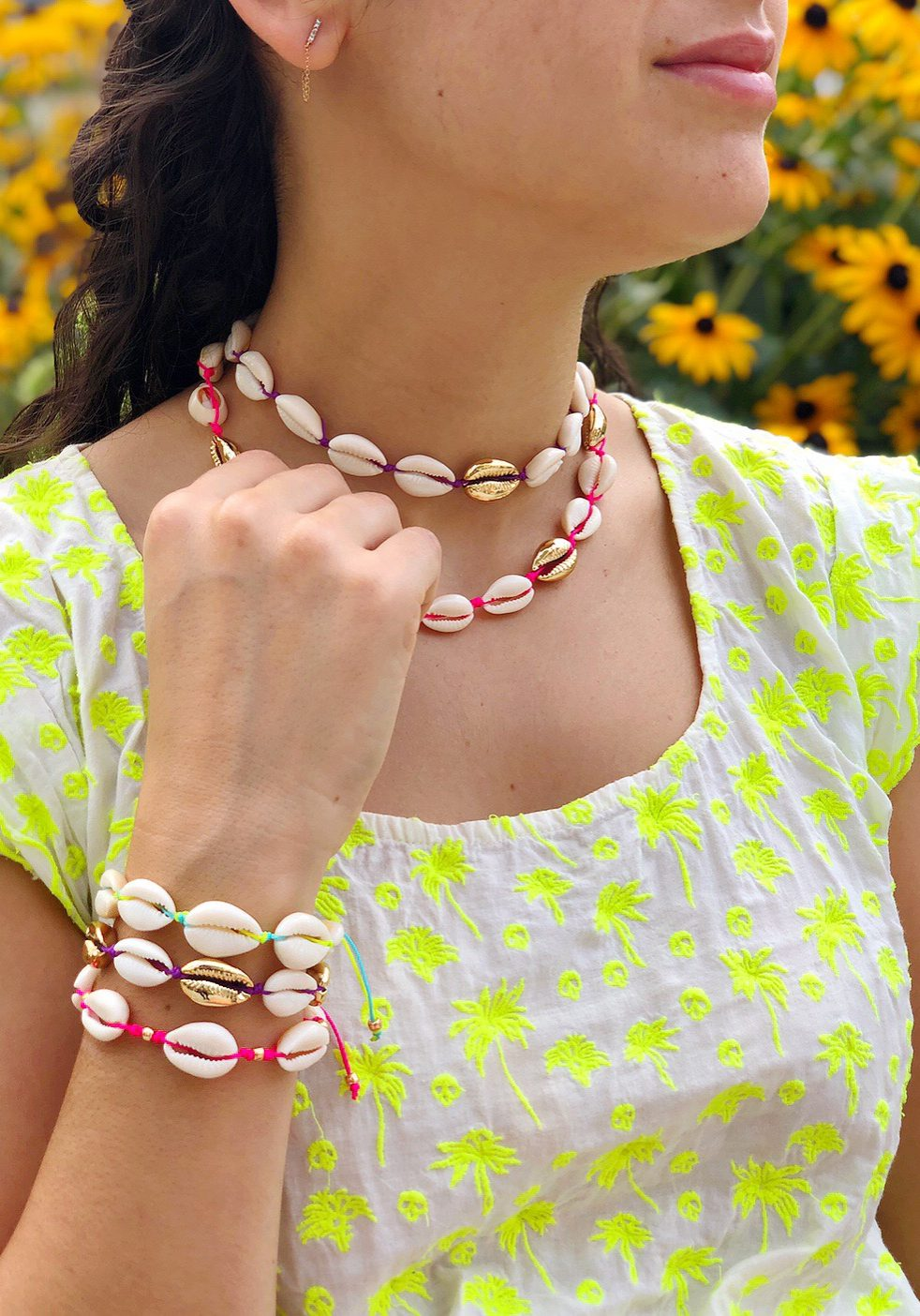DIY Cowrie Shell Macrame Jewelry - The Neon Tea Party