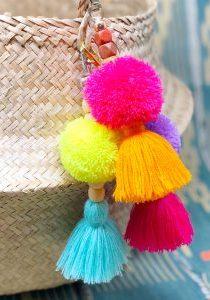 Pom Pom & Tassel Bag Charm Keychain - The Neon Tea Party