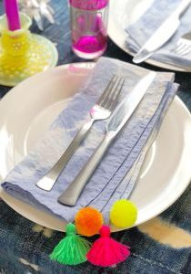 Pom Pom Tassel Shibori Napkins The Neon Tea Party