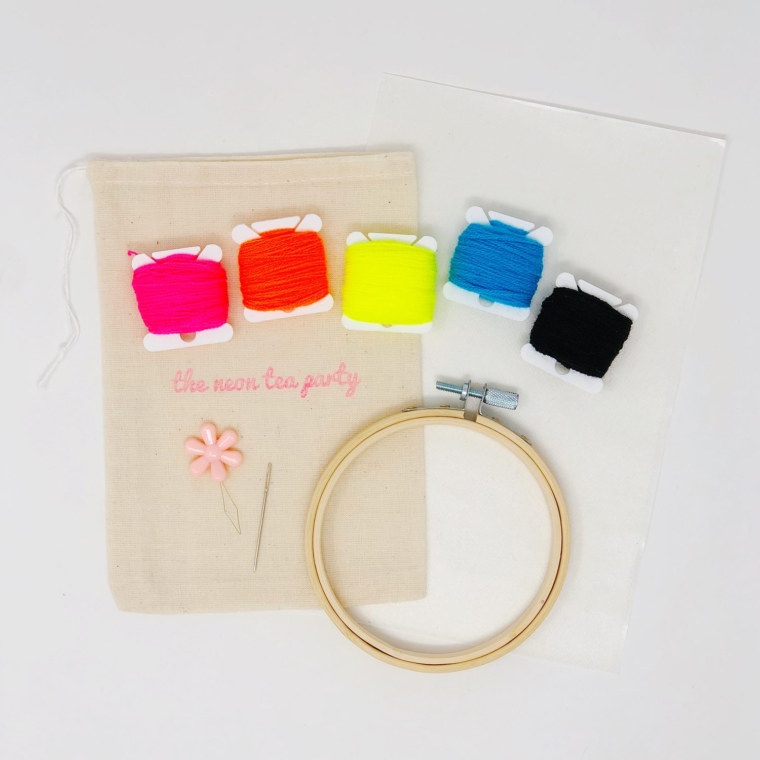 The Neon Tea Party - Classic Embroidery Kit 1