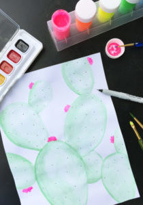 Watercolor Cactus DIY Tutorial Yoobi The Neon Tea Party 1